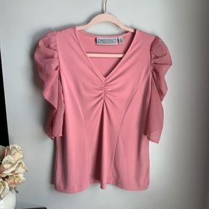GEORGE SIMONTON Designer Pink Puff Sleeve Blouse